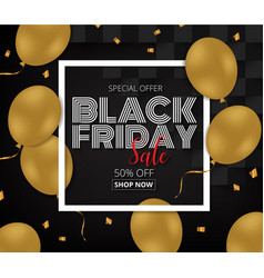 black friday sale promotion poster with gold vector image