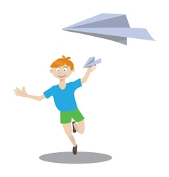 boy playing with paper airplane vector image vector image