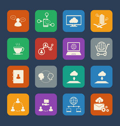Business and social network icons set flat design vector