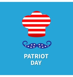 Chef hat mustache patriot day flat vector