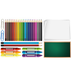 Color pencils and crayons set with papers vector