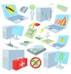Computer repair icons set cartoon style vector image