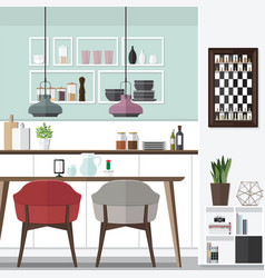 Cool dining room design vector