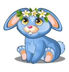 Cute blue bunny with flowers and pink ears vector