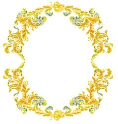Decorative round frame ornamental floral vintage vector