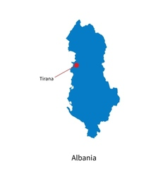 Detailed map of albania and capital city tirana vector
