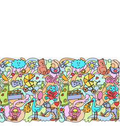 Doodle baby colorful seamless border vector