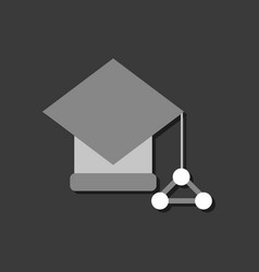 Flat icon design molecules square academic cap in vector