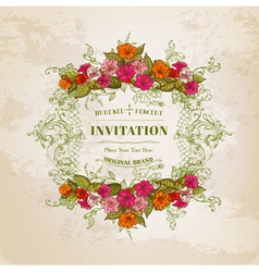 Floral Card with Vintage Frame vector image vector image