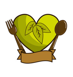 Green heart with spoon fork and ribbon vector