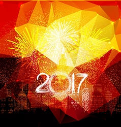 Happy new year fireworks 2017 city night vector