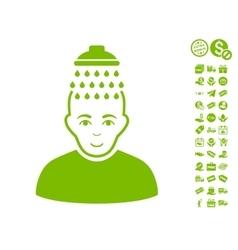 Head shower icon with free bonus vector