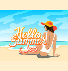 Hello summer lettering with girl vector