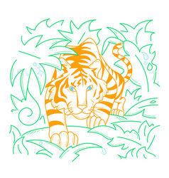 icon tiger icon in nature vector image vector image