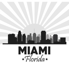 Miami florida design city and sunset icon vector