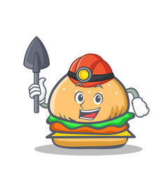 Miner burger character fast food vector