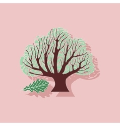 Paper sticker on stylish background plant quercus vector