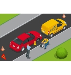 Roadside assistance car Man changing wheel on a vector image vector image