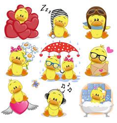 set of cute cartoon ducks vector image vector image
