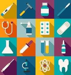 Set of flat style medical icons with long shadow vector