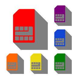 Sim card sign set of red orange yellow green vector