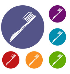 Toothbrush with toothpaste icons set vector