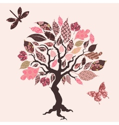 tree with patch leaves vector image vector image