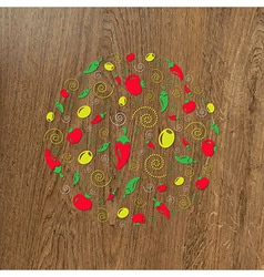 Wooden Background And Circle From Icons vector image vector image