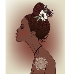 Young beautiful african woman with flowers vector