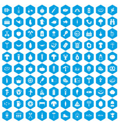 100 barbecue icons set blue vector image vector image