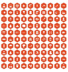 100 earth icons hexagon orange vector