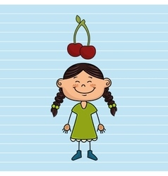 girl cartoon fruit food vector image