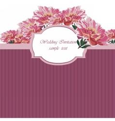 Vintage Watercolor Spring peonies flower card vector image