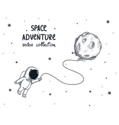 cute spaceman fly with balloon like a moon vector image