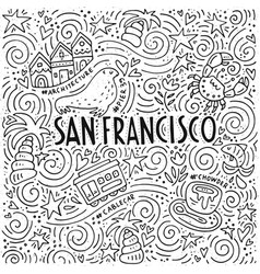 The symbols of san francisco in pattern vector