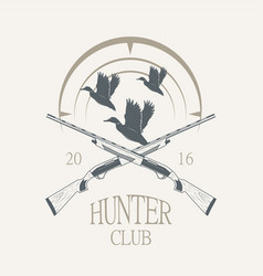 duck hunting with shotguns icon vector image