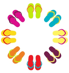 Summer colorful flipflops in circle vector