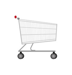 empty metal shopping trolley vector image