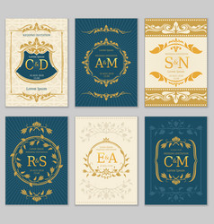 luxury vintage wedding invitation cards vector image