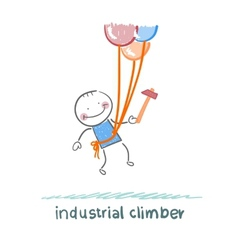 industrial climber flies on the balloons with a vector image