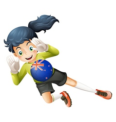 A female player using the ball with the flag of vector