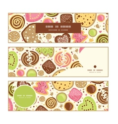 Colorful cookies horizontal banners set pattern vector