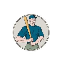 Baseball player batter holding bat etching vector