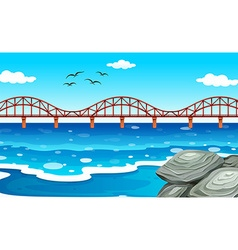 Ocean view with the bridge vector