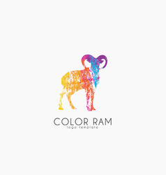 Ram logo design color ram creative logo vector