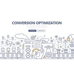 Conversion optimization doodle concept vector