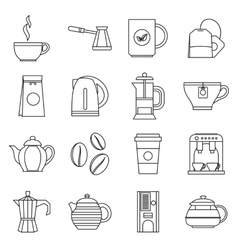 Tea and coffee icons set outline style vector