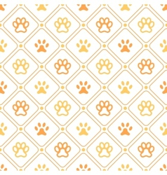 Animal seamless pattern of paw footprint line and vector