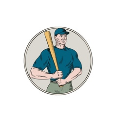 Baseball player batter holding bat etching vector