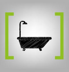 bathtub sign black scribble icon in vector image